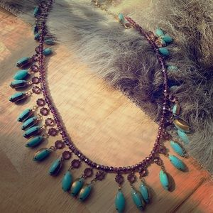 Anthropology Teal & Purple Stone Gold Necklace